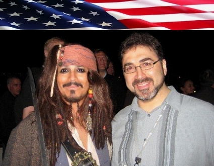 "Sam Bazzi of Arcs, right, with ""Captain Jack  Sparrow"" at the dot-org cruise during ICANN Los Angeles 2007"