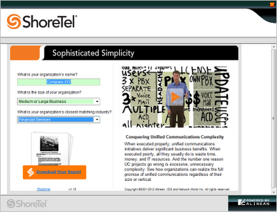 Interactive White Paper for ShoreTel (IDG / Alinean)