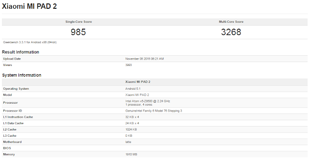 Xiaomi Mi Pad 2 muncul di situs patokan Geekbench, dibekali chipset Intel X5-Z8500