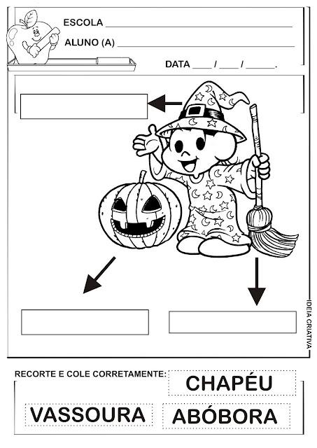 Atividade Ditado Recortado Temática Halloween Magali