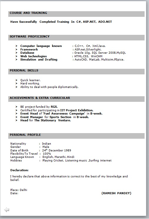 RESUME FORMAT FOR FRESHER - Free Job Cv Example