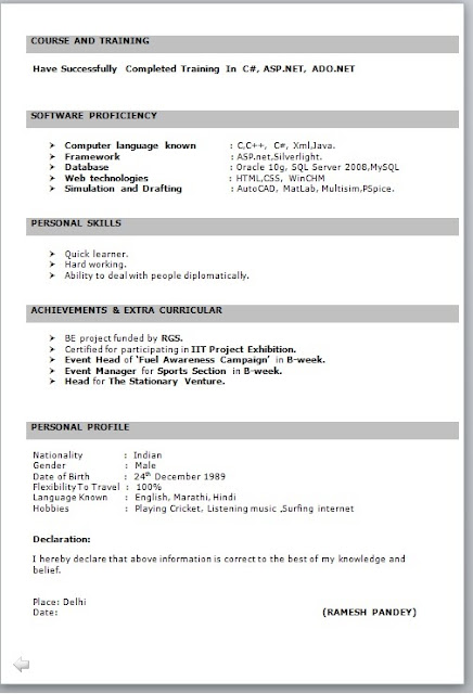 IT Fresher Resume Format in Word – Latest Resume Format for Freshers