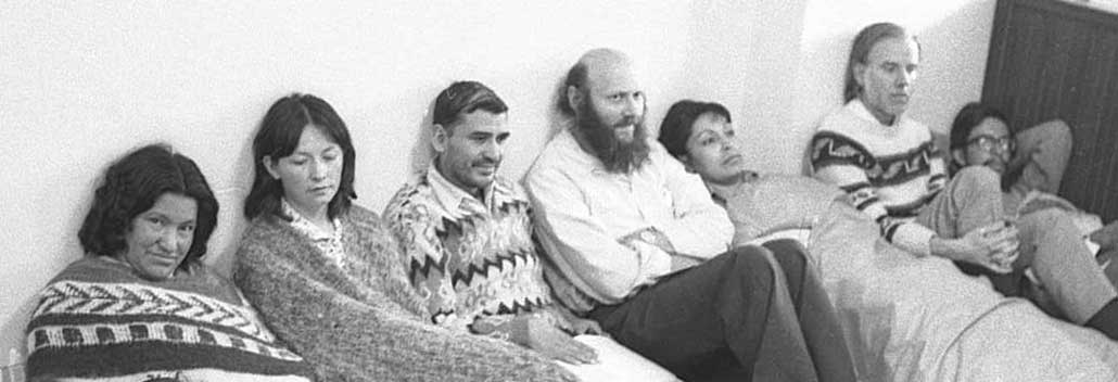 Domitila with other miners on hunger strike in 1977