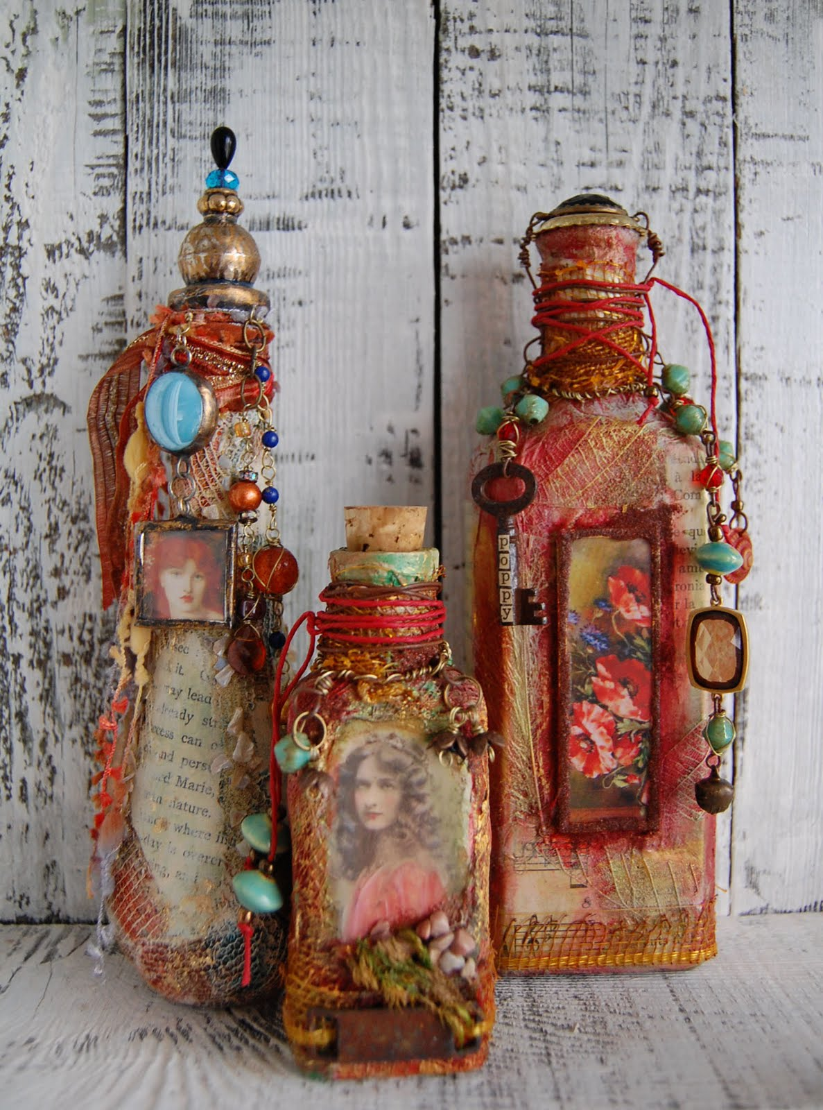 a to zinnia mixed media bottle art