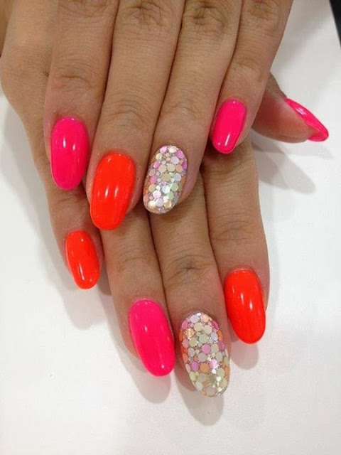 acrylics LED polish manicure with sequin feats nail art design Gel Nails