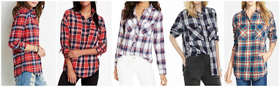 Forever 21 Classic Plaid Flannel Shirt $19.90 more prints here, here, and here  Old Navy Boyfriend Flannel Popover $20.00 (regular $29.94)  At Last Plaid Print Shirt $24.99 (regular $34.00) similar  Express Plaid Oversized Convertible Sleeve Shirt $35.94 (regular $59.90)  Sandra Plaid Cotton Flannel Boyfriend Shirt $38.98 (regular $78.00)