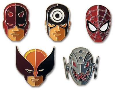 Marvel Character Portrait Enamel Pins by Tom Whalen - Spider-Man, Daredevil, Bullseye, Wolverine & Ultron