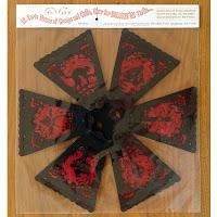 Bottom view of vintage style Halloween art by Bindlegrim in red black illustration pendant lantern