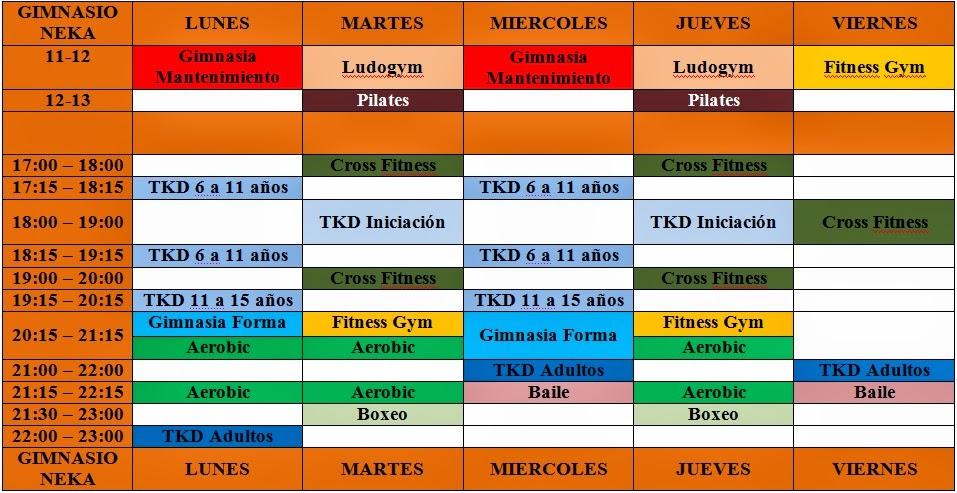 Gimnasio neka horarios for Horario gimnasio