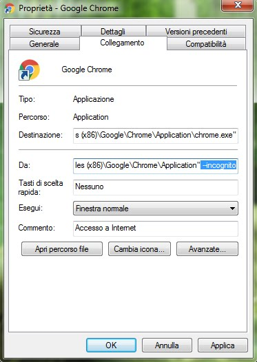 Aprire il browser direttamente in modalit in incognito - Nuova finestra di navigazione in incognito ...