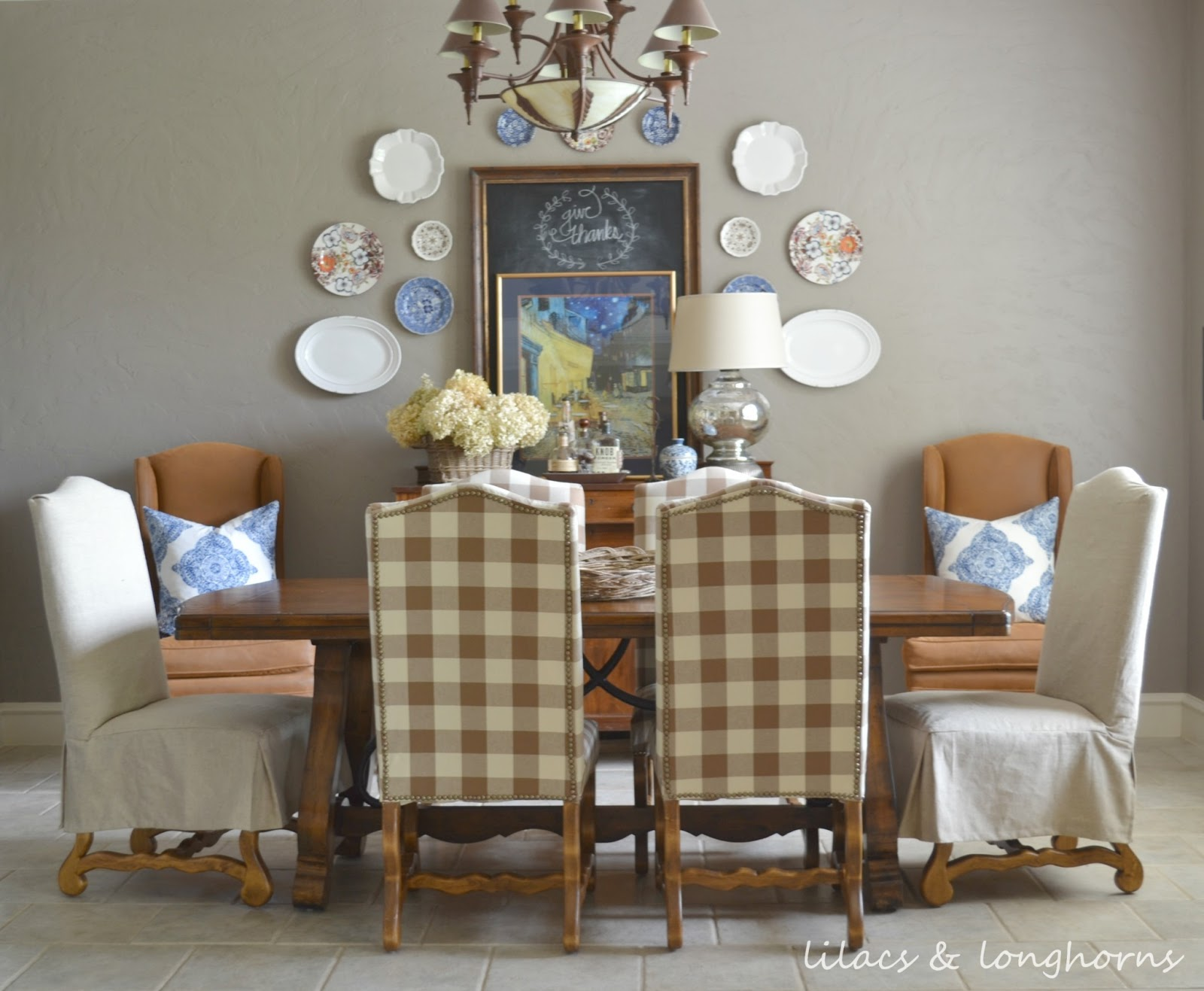 dining room sets with fabric chairs. I absolutely wanted upholstered chairs because when we eat in this room  tend to linger When found the table and on Craig s list for a major Savvy Southern Style My Favorite Room Lilacs Longhorns