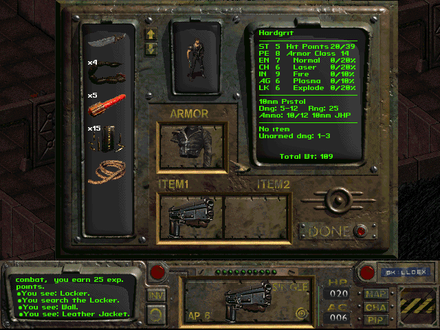 Fallout 1 inventory screen wearing Mad Max style leather jacket