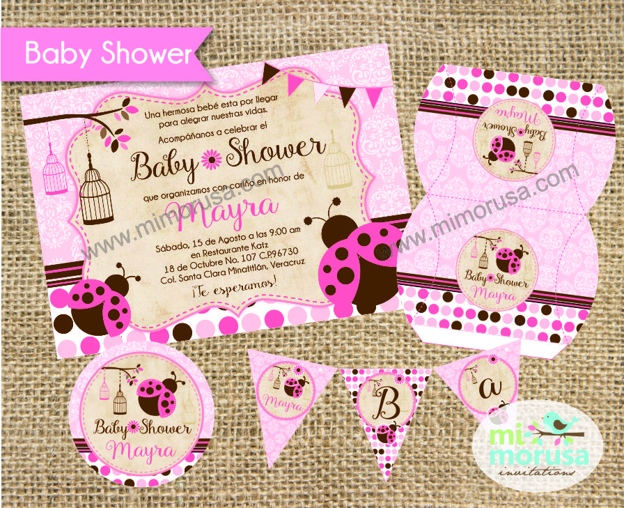 mi morusa arte digital kit baby shower rustico shabby chic de catarinas ladybugs. Black Bedroom Furniture Sets. Home Design Ideas