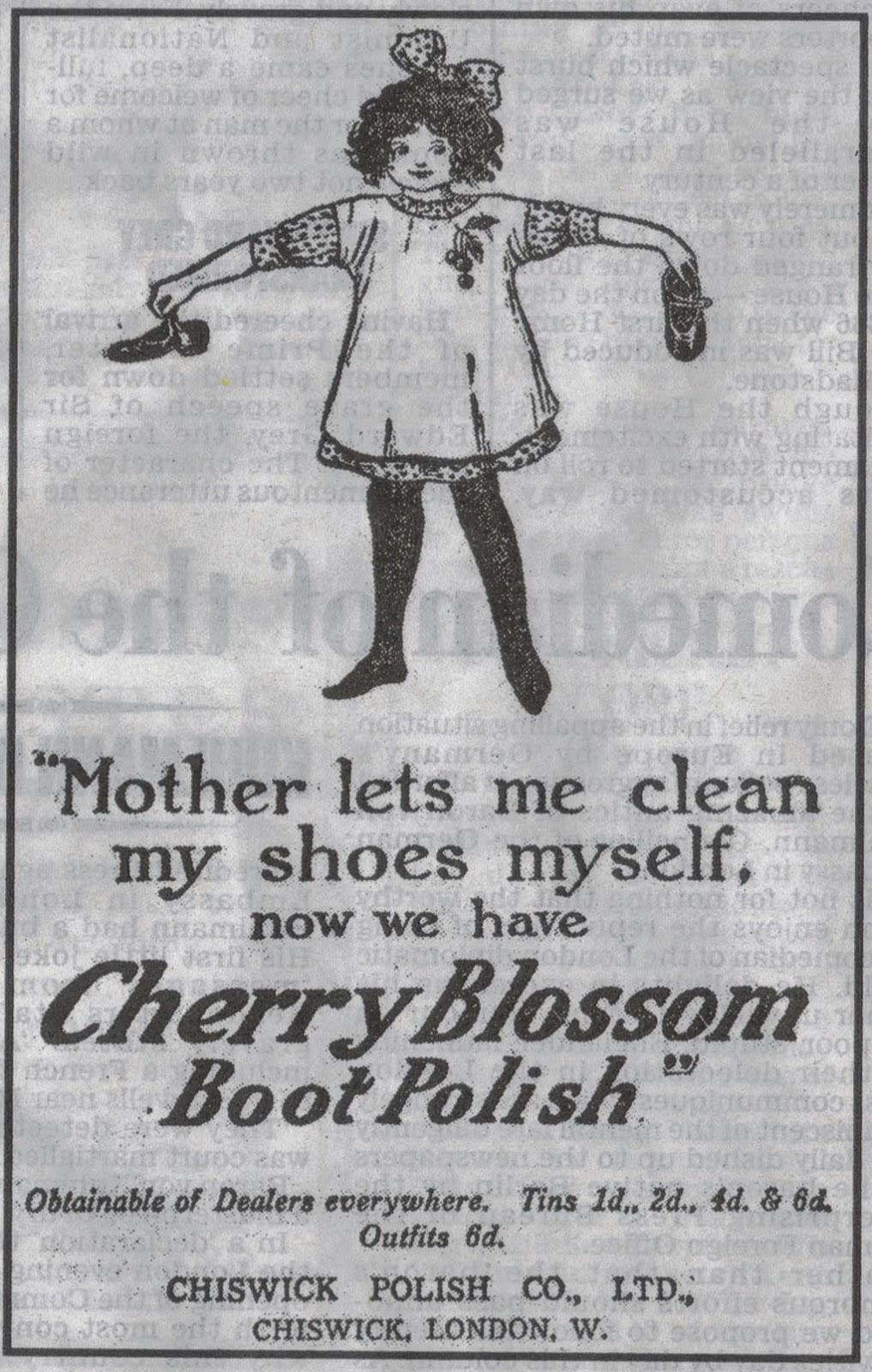1914 advert for Cherry Blossom shoe polish