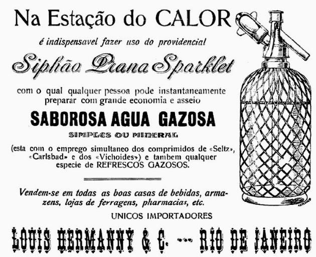 Sifão Água Gasosa – Revista Fon-Fon 1908: praticidade para transportar água.