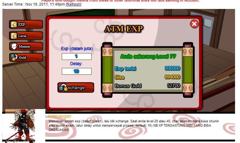 Cheat ATM EXP & ATM GOLD Terbaru