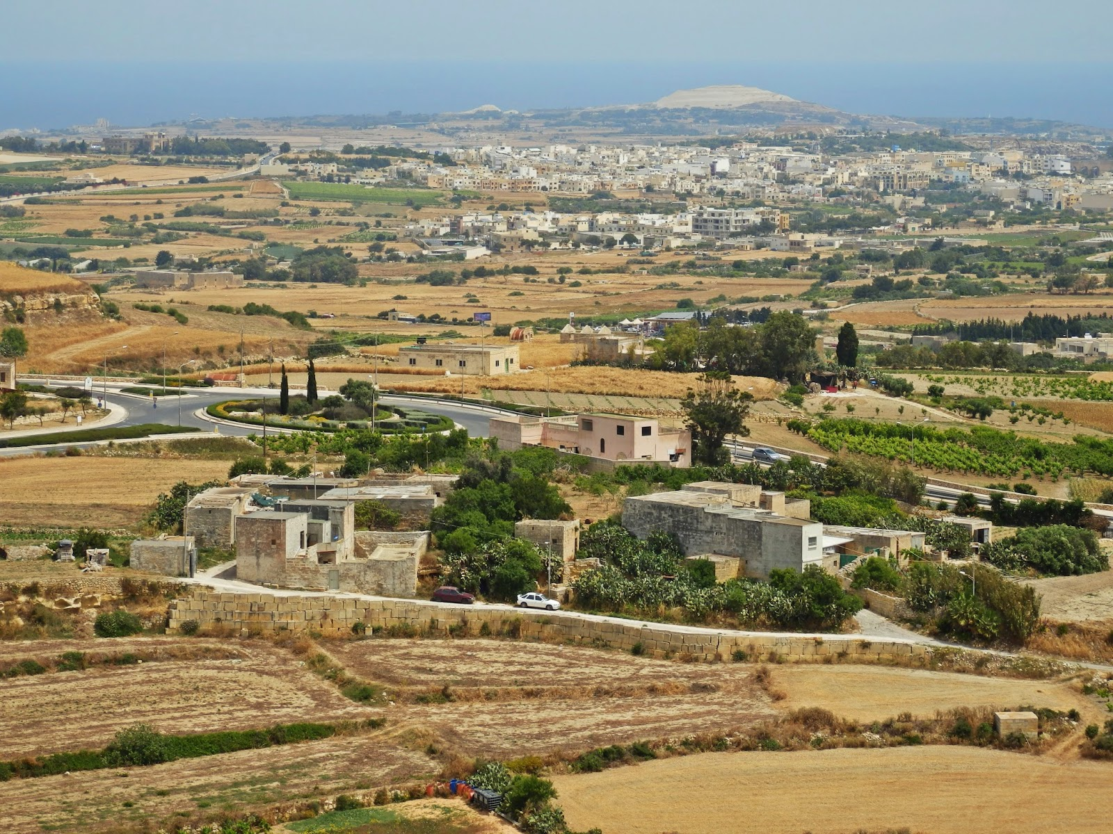 View from Mdina city walls to the sea