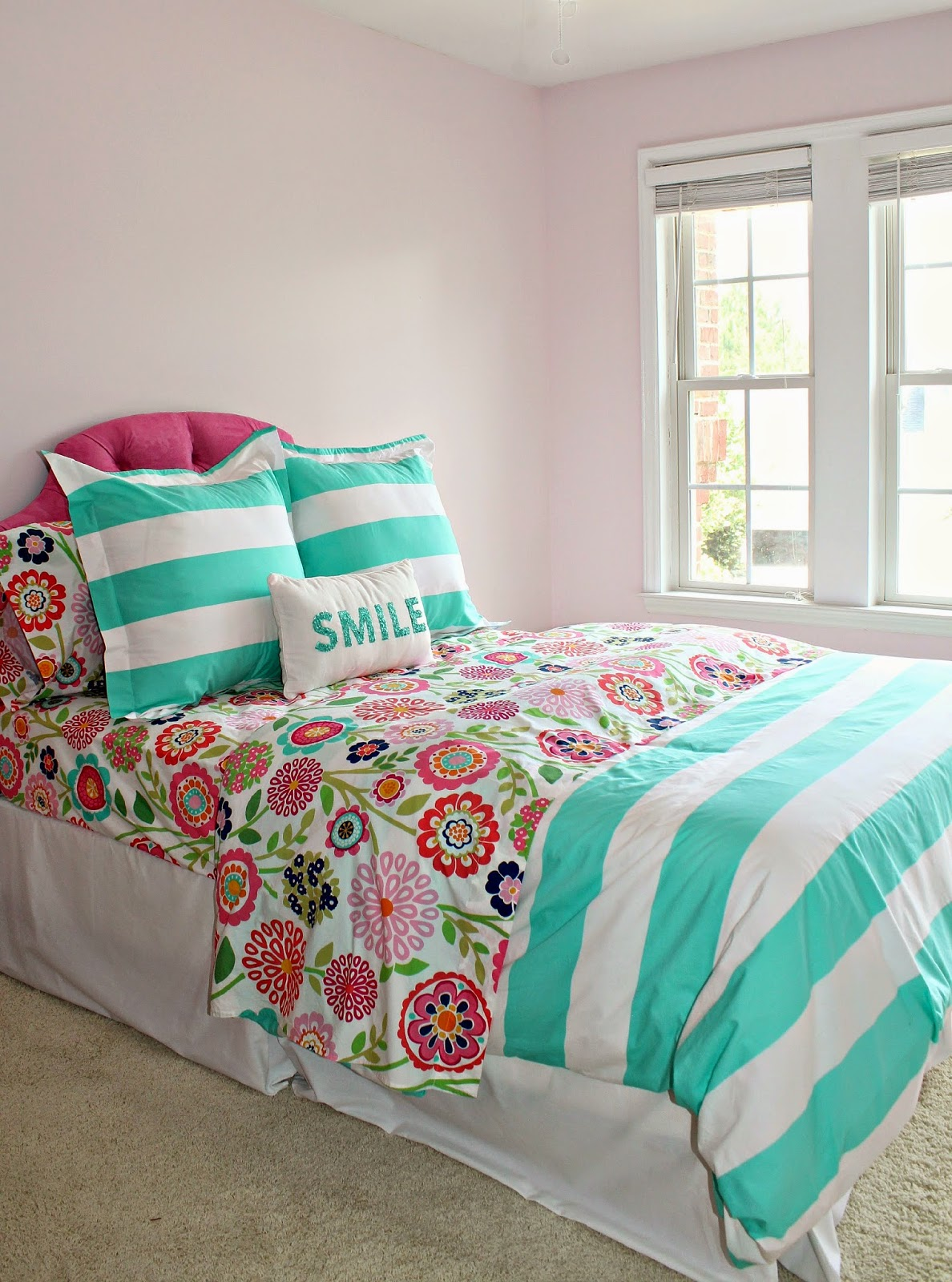 Marvelous This week Tal attached a hot pink tufted headboard to Hadley us big girl bed