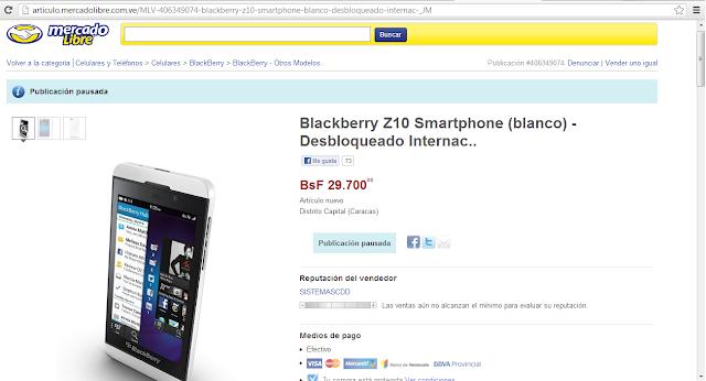 Link del anuncio:http://articulo.mercadolibre.com.ve/MLV-406349074-blackberry-z10-smartphone-blanco-desbloqueado-internac-_JM Esincreíbleque ocurran cosas como estas, vean los precios del BlackBerry z10 en Mercado Libre, un insulto a la inteligencia de todos… por favor no se desesperen que el 12 de Marzo esta a la vuelta de la esquina y podran comprarlo en Movistar y Digitel a su justo precio.. no le hagamos el juego a estos especuladores… recuerden que Venezuela sera el primer pais de latinoamerica en tenerlo…