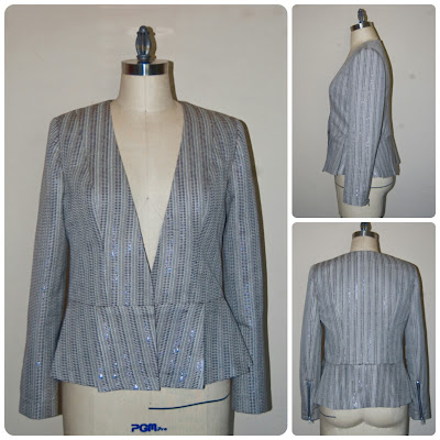 New Look 6231 - Collarless Peplum Blazer made in Carolina Herrera Stone Lurex Woven from Mood Fabrics