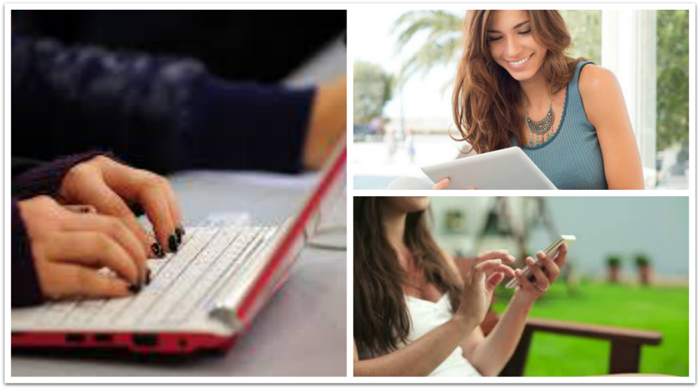 stay in touch: laptop, tablet, smartphone