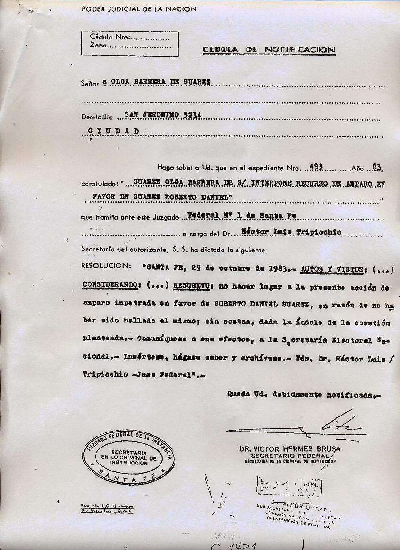 """Hábeas corpus presentado en favor de Roberto Suárez. Se decidió """"no hacer lugar"""" al reclamo: el que firma esa negativa es Víctor Hermes Brusa, luego condenado por crímenes de lesa humanidad."""
