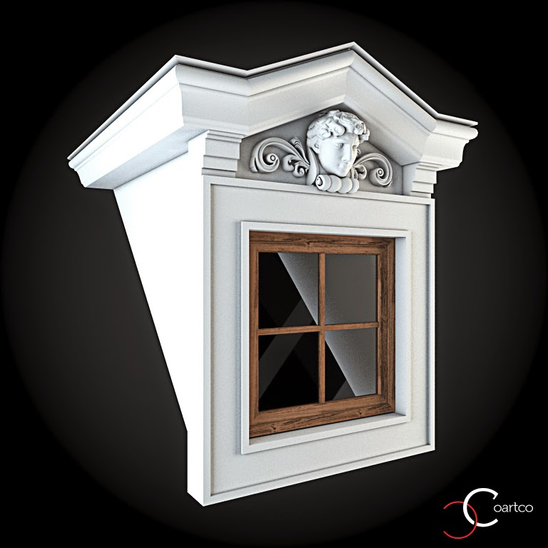 Ornamente Geamuri Exterior, fatade case cu profile decorative polistiren, profile fatada,  Model Cod: WIN-092