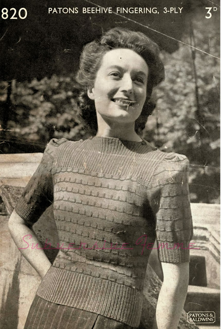 The Vintage Pattern Files: 1940s Knitting - Split-Neck Jumper