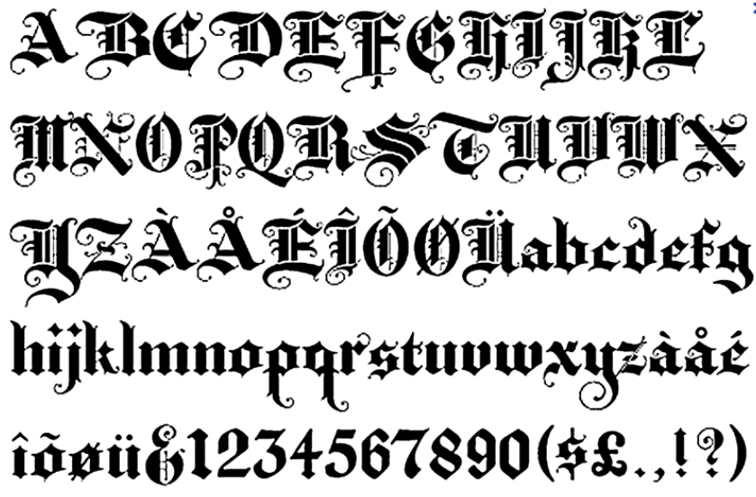 Татуировки шрифт алфавита