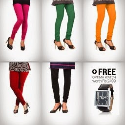 Buy Set of 5 churidar Leggings and Classic & Stylish Optima Watch Free at Cloe: Buytoearn