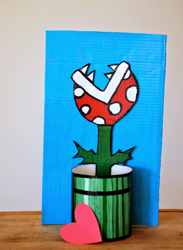 completed piranha plant valentine card box