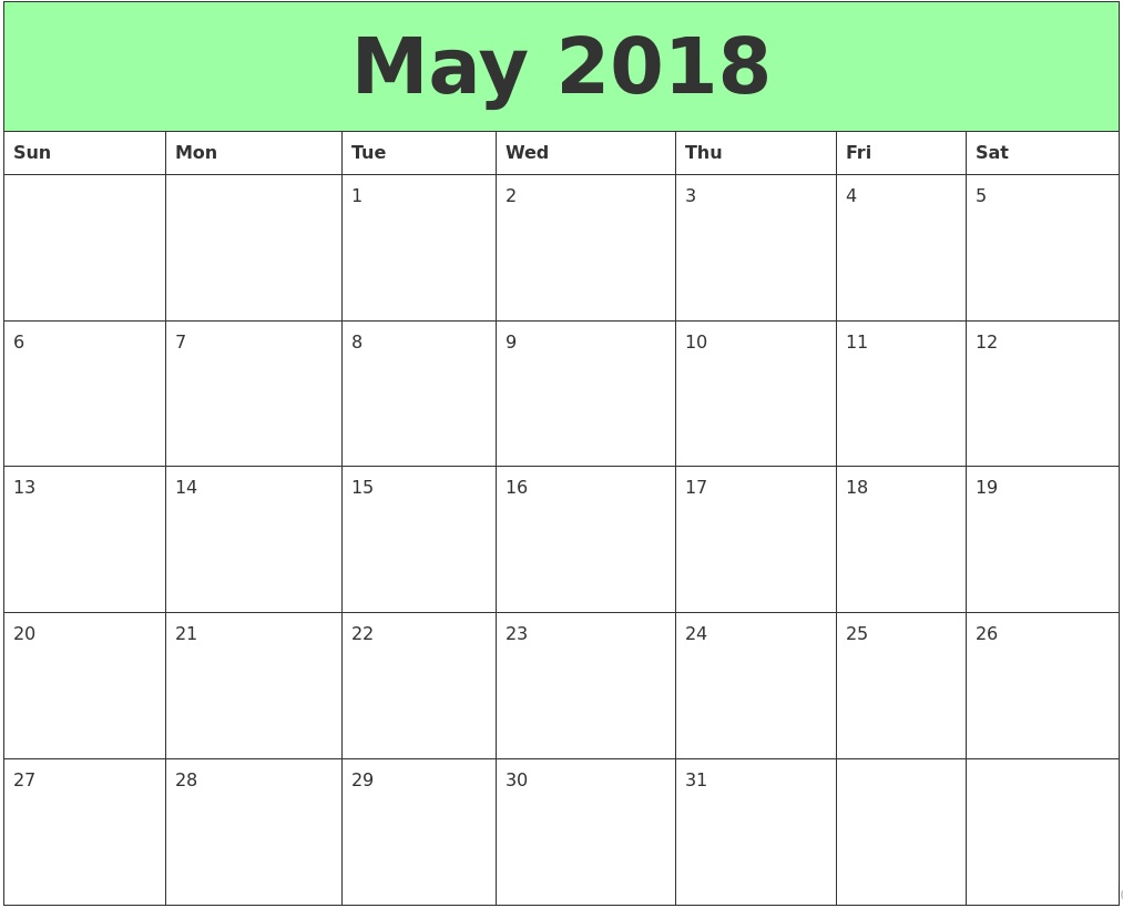 monthly calendar may 2018