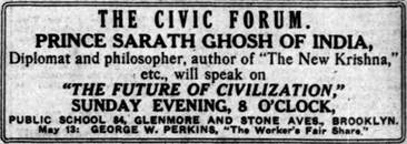 Advertisement for Prince Sarath Ghosh's lecture at a Public School in Brooklyn, New York