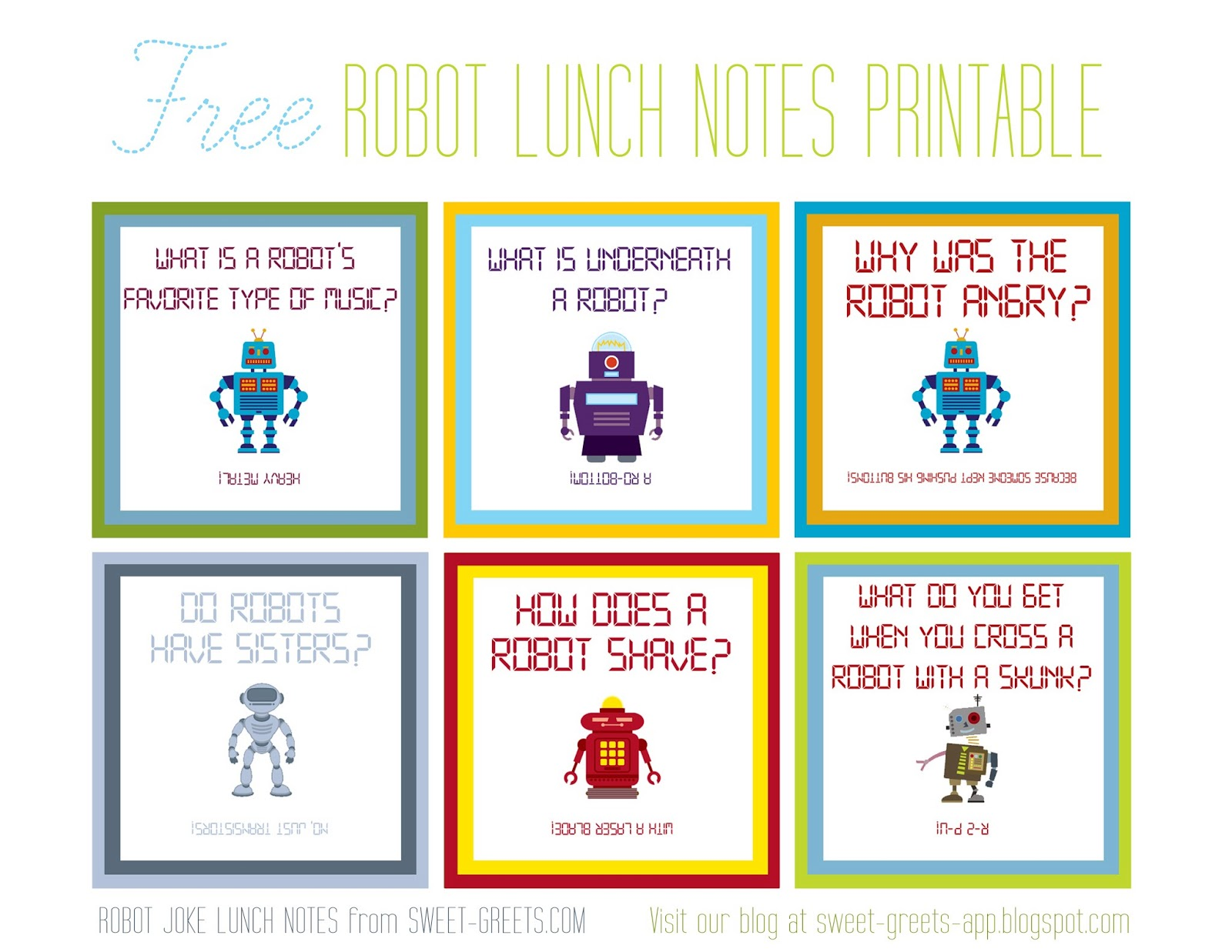 Printable Out To Lunch Sign Free printable: robot joke