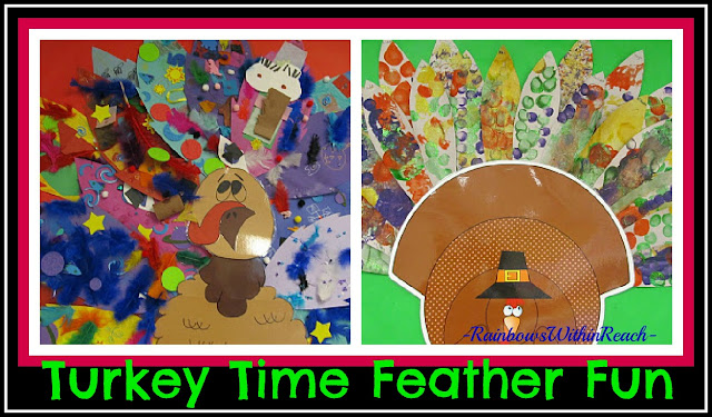 photo of: Turkey Bulletin Board with Painted Feather Fun (from Bulletin Board RoundUP via RainbowsWithinReach)