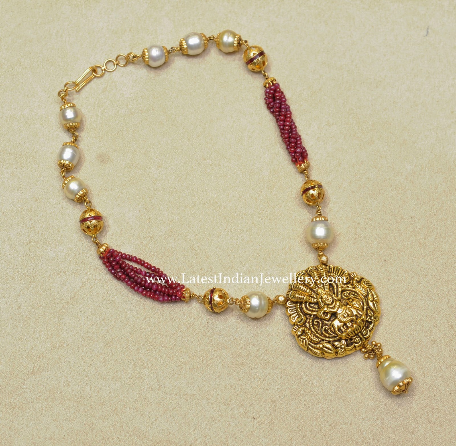 Pearls And Ruby Beads Fancy Necklace