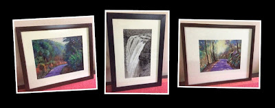 framing of original soft pastel paintings by Manju Panchal using offwhite matt board and fibreboard frame.