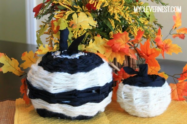 "My ""mama"" and ""baby"" pumpkins, at least that's what my toddler would call them. Joann Fabric's A Halloween to DIY for crafting challenge, accepted! #DIY4Halloween #clevernest"