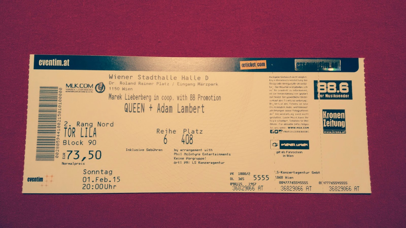 Queen Ticket Vienna Price 2015