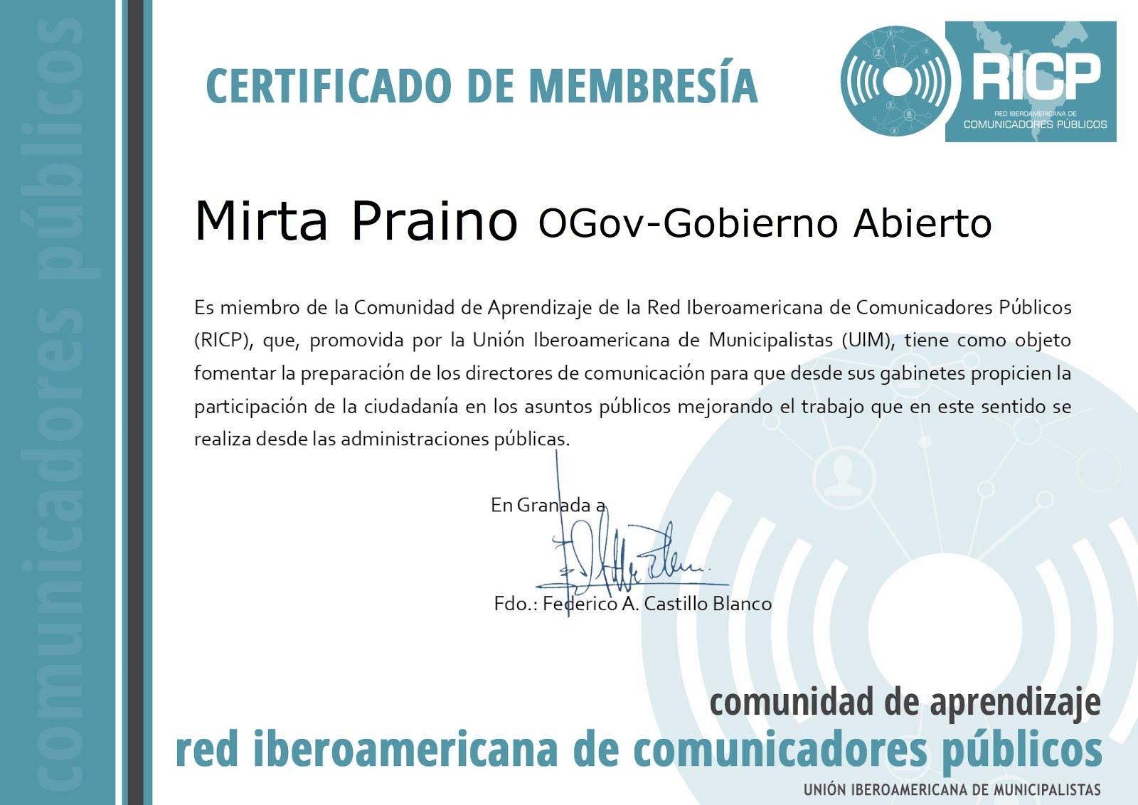 -Miembro de la Comunidad de Aprendizaje de la Red Iberoamericana de Comunicadores -RICP-