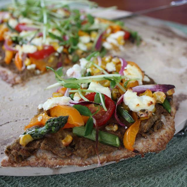 Summer Vegetable Flatbread with Eggplant Spread and Goat ...