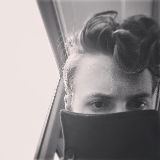 Curly hair pompadour men