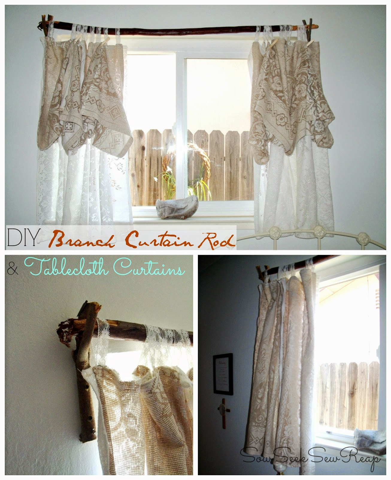 DIY CURTAIN ROD, BRANCH CURTAIN ROD, TABLECLOTH CURTAINS