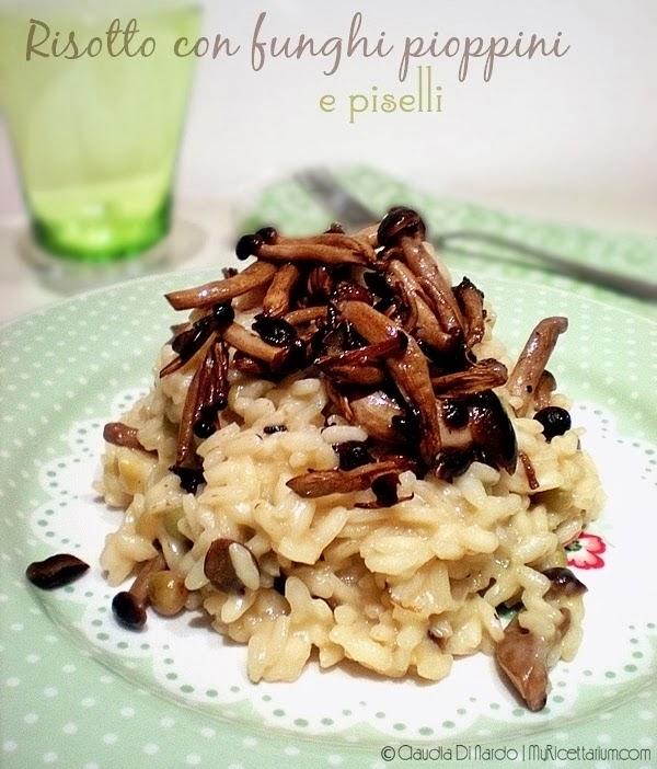 risotto con funghi pioppini e piselli