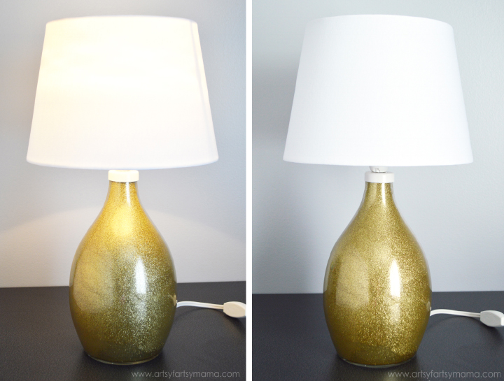 Ikea Brån Lamp turned DIY Glitter Lamp from artsyfartsymama.com #ikeahack #glitter
