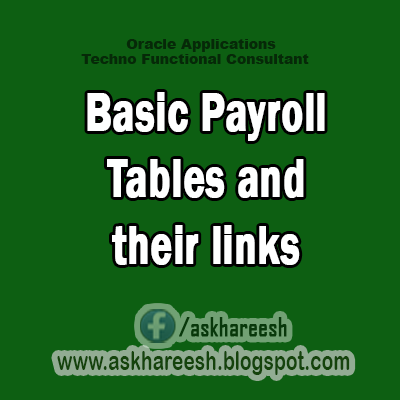 Basic Payroll Tables and their links, askhareesh blog for Oracle Apps
