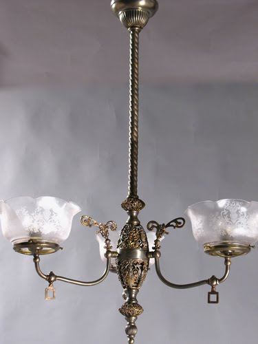 Antique lighting circa 1840 to 1940 february 2012 this 3 light gas chandelier with open body work was manufactured in the early part of the 1890s when the combination form gas and electric chandeliers were aloadofball Image collections