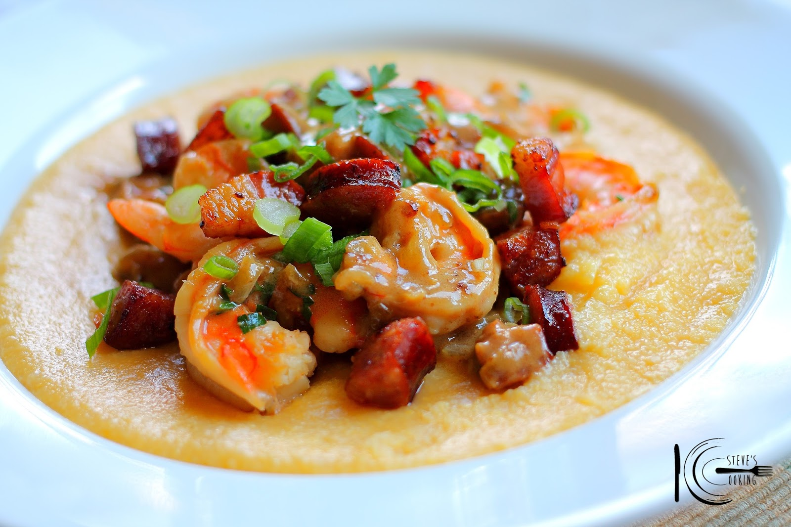 Shrimp and Pancetta over Soft Polenta by Steven Dolby