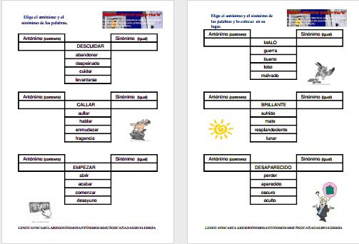 Modelos didácticos para primaria: Sinónimos y antónimos.Aprendemos ...