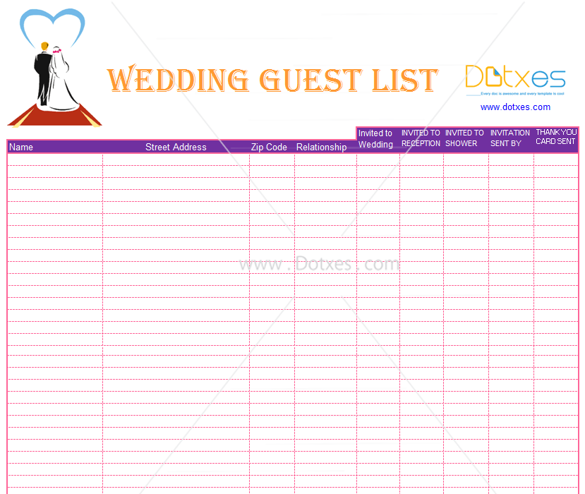 Guest List For Wedding Template